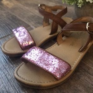 Girls pink sparkly glitter sandals